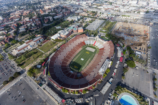 Aerial view of the historic Los Angeles Memorial Coliseum stadium near the University of Southern California on April 12, 2017 in Los Angeles, California, USA.