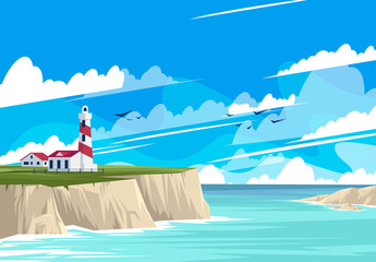 Foto auf Acrylglas Turkis vector illustration of the lighthouse landscape with buildings on the rocky shore, the sea shore with rocks, panorama of the sea horizon