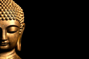 Bangkok, Thailand. Depiction of head and face of Buddha golden statue