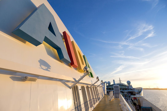 ELBE, GERMANY - June 4, 2017: AIDA logo at the funnel of cruise ship AIDAsol. AIDA Cruises is one of ten brands owned by Carnival Corp.
