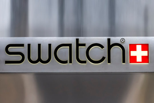 Detail of the Swatch store in Catania. Swatch is watch manufacturing company founded at 1983.