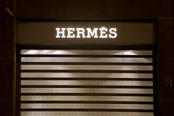 Detail of the Hermes shop in Bari, Italy. Hermes International is is a French manufacturer established in 1837.