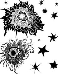 Vector image of design elements in shape of decorative stars