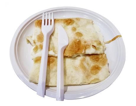 White pizza, Focaccia formaggio italian cheese flatbread,  focaccia di recco traditional italian liguria , genova region in white plate isolated white background with clipping path.