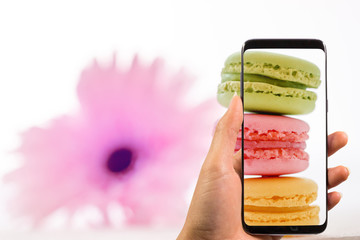 hand holding phone and taking photo of tasty colorful macarons in plate on trendy pastel with blurred pink flower, space for text. modern food photography concept. instagram photo workshop