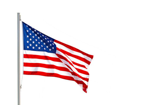 American flag waving in the wind isolated on white background with clipping path.