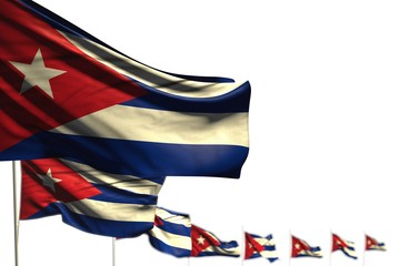 nice celebration flag 3d illustration. - Cuba isolated flags placed diagonal, picture with soft focus and place for your text