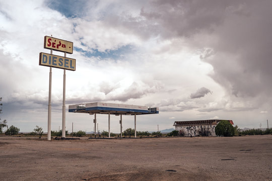 LORDSBURG, NEW MEXICO - JUNE 30 2018: Abandoned gas station in the middle of the New Mexico desert is decaying and destroyed