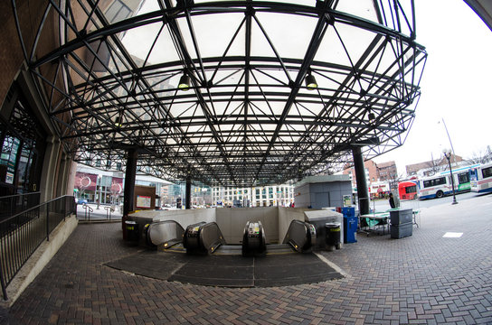 JANUARY 17 2018 - ARLINGTON, VA: Fisheye view of the Ballston DC Metro train station and escalators