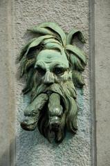 Poster Bridges Belgium, Brugge (aka Brug or Bruge). Historic Brugge, UNESCO World Heritige Site. Bronze fountain.