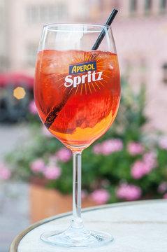 Mulhouse - France - 20 September 2017 - glass of spritz on restaurant terrace
