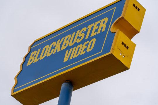 AUGUST 12 2018 - FAIRBANKS ALASKA: Exterior sign of a closing Blockbuster video rental store