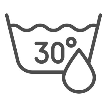 30 degrees washing line icon. Delicate wash vector illustration isolated on white. Laundry label outline style design, designed for web and app. Eps 10.