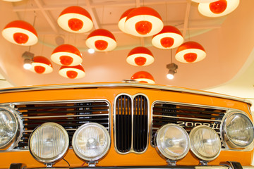 Classic 1968 BMW 2002 TI car on a display at the BMW Museum in Munich, Germany. Museum was established in 1972 and deals with the history of the automobile manufacturer BMW.