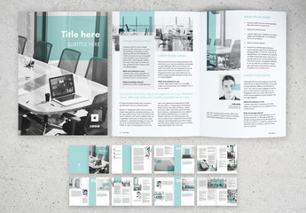 Corporate Brochure Layout with Mint Green Accents