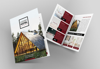 Dark Red and White Brochure Layout with Pattern Element
