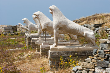 Tuinposter Historisch mon. Greece, Delos. Ruins of ancient Terrace of the Lions.