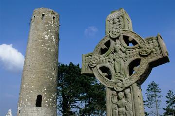Ireland, County Offaly, Clonmacnoise, 9th century High Cross.
