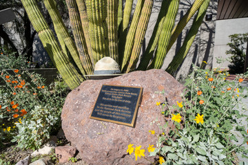 Ajo, Arizona - March 23, 2019: Visitor Center Memorial dedicated to US National Park Ranger Kris Eggle, who was murdered by a Mexican drug cartel in 2002 at Organ Pipe Cactus National Monument