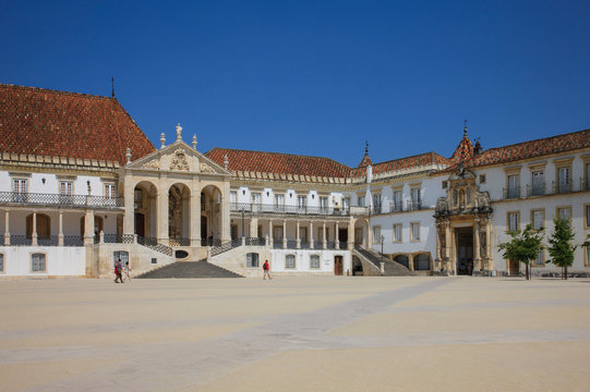 Courtyard of the one of the oldest universities in Portugal, in Coimbra, which houses the Joanina Library.