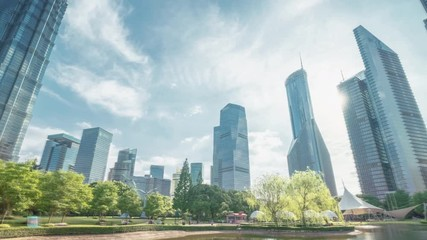 Fotomurales - park in lujiazui financial centre, Shanghai, China