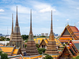 Elevated aerial view of the famous Wat Pho or Wat po buddhist temple complex near the grand palace in bangkok