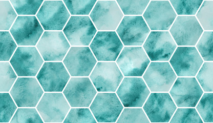 Seamless watercolour pattern. Decorative artistic background. Trendy creative design. Handmade texture. Turquoise ink.