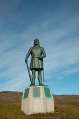 Greenland, Tunulliarfik (aka Erik's Fjord), Qassiarsuk. Home to historic Brattahlid, Erik the Red's Eastern Settlement. Leif Erikson statue..