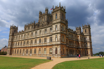 England, Hampshire. Highclere Castle. Jacobethan style country house, seat of the Earl of Carnarvon. Setting of Downton Abbey.