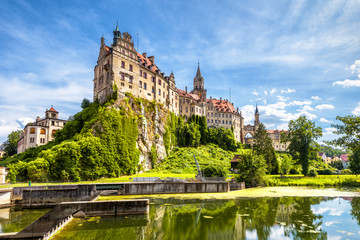 Fototapete - Sigmaringen Castle at Danube river, Germany. This beautiful castle is a landmark of Baden-Wurttemberg. Panorama of Swabian castle on a rock. Scenic view of old German castle rising above town.