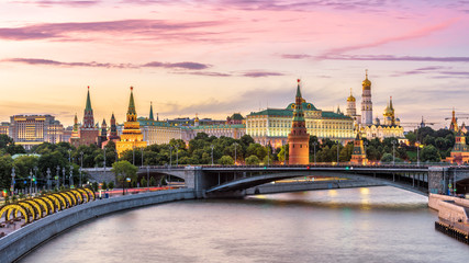 Wall Mural - Moscow Kremlin at Moskva River, Russia. Panorama of the Moscow old city at sunset. Nice view of ancient Moscow Kremlin in summer evening. Beautiful cityscape of the famous Moscow center at dusk.