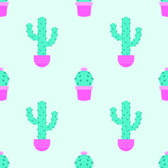 Succulents seamless pattern on a mint background