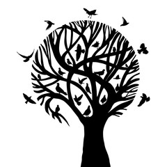 A stylized beautiful monochrome tree with birds. Vector illustration