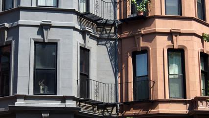Boston, USA: Erker und Fassade von Altbauten in Back Bay