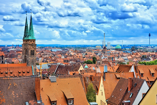 Nuremberg, Germany, view over the historic Old Town from the castle with church spires