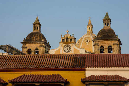 Plaza de la Aduana in the old walled city of Cartagena, Colombia.