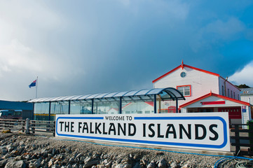 Falkland Islands. Stanley. Tiny port in the town of Stanley. Fotomurales