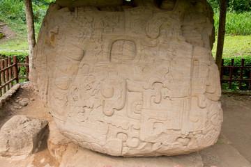 Fototapeta Guatemala, Department of Izabal, Quirigua National Park. Mayan archaeological site, Classic Period (AD 200-900). Zoomorph P, masterpiece of Mesoamerican art, carved 20 ton stone. obraz