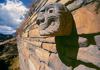 Fotobehang Historisch mon. Peru, Chavin. Chavin de Huantar, a World Heritage Site, in the Huaylas Valley, is the oldest major culture in Peru.