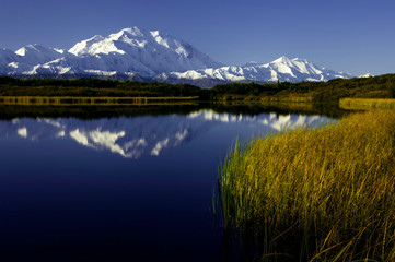 Denali (Mt. McKinley), highest mountain in all of North America, towers over vast Denali National Park in central Alaska.