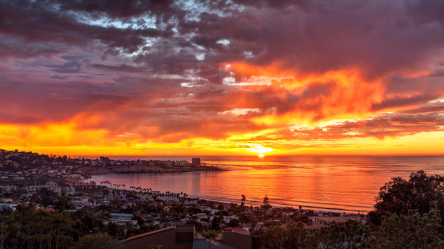 USA, California, La Jolla. Panoramic view of sunset over La Jolla Shores and village