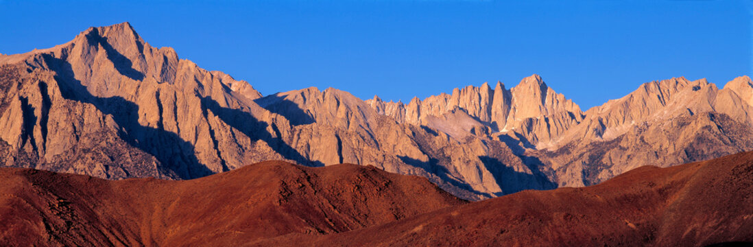 USA, California, Mt Whitney. The gentle Alabama Hills act as a foreground to Mt Whitney, Sierra Nevada, California.