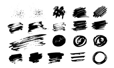 Hand drawn set of brush strokes, vector