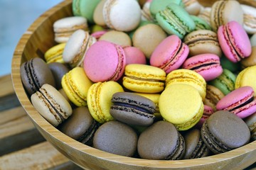 Bowl of colorful macaron cookies
