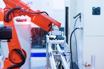 Fotobehang Luchthaven robot arm is working smartly in the production department in artificial intelligence factory