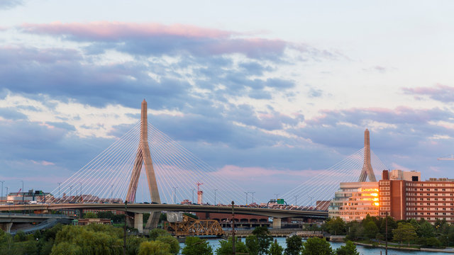 View of the Zakim Bridge from the parking garage at the Museum of Science in Boston, Massachusetts.