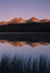 USA, Idaho, Sawtooth Range. Little Redfish Lake reflections at sunrise.
