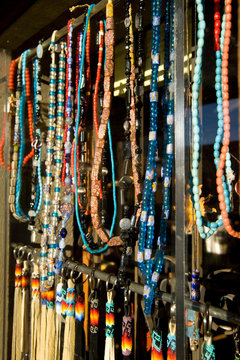 NA, USA, New Mexico, Albuquerque, Old Town, Jewelry in Shop Window