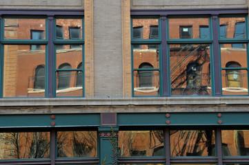 Building facades in Old Market historic district in downtown Omaha, Nebraska