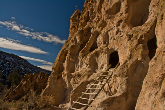 Ancient Pueblo, reconstructed ladder, Bandelier National Monument, New Mexico, USA